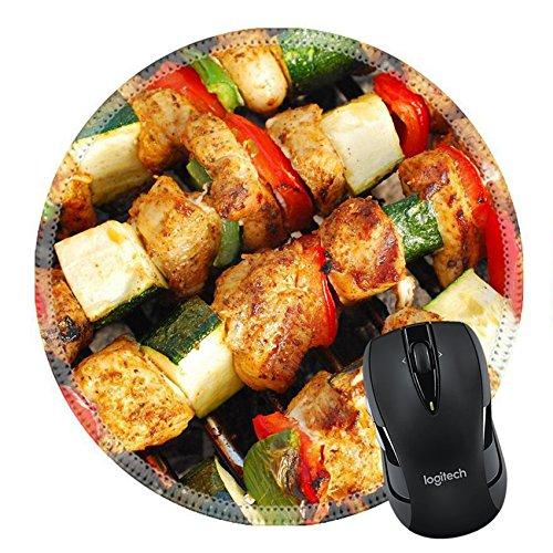 MSD Naturkautschuk Mousepad rund Mauspad 20774531gegrillten Huhn und bunt Gemüse shashliks auf den Sommer Picknick