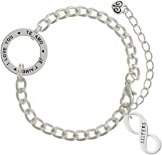 Delight Jewelry Family Infinity Sign I Love You in 3 Languages Affirmation Link Bracelet