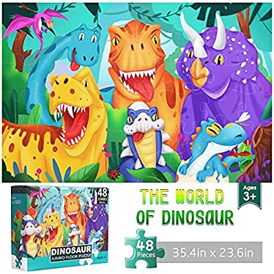 Amazon - 10% Off on Jumbo Floor Puzzle for Kids Dinosaur Jigsaw Large Puzzles 48 Piece