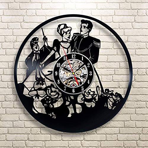 LINZEWANG Reloj De Pared De Príncipe Y Cenicienta De Dibujos Animados Reloj Retro Clásico De Corte Art Deco Hecho A Mano