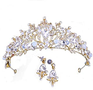 X-SPORT Crown Headband Earrings for Girls Crown Tiara Hair Hoop Hair Accessories for Wedding Birthday