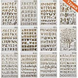 ONEST 12 Pack Letter and Number Stencils Alphabet Stencil for Bullet Journal Supplies Scrapbooking Painting Drawing Craft -7×10 inch
