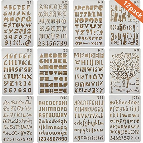12 Pack Letter and Number Stencils Alphabet Stencil for Bullet Journal Supplies Scrapbooking Painting Drawing Craft -7×10 inch