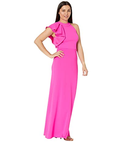 Betsy & Adam Long Ruffle Halter Crepe Gown