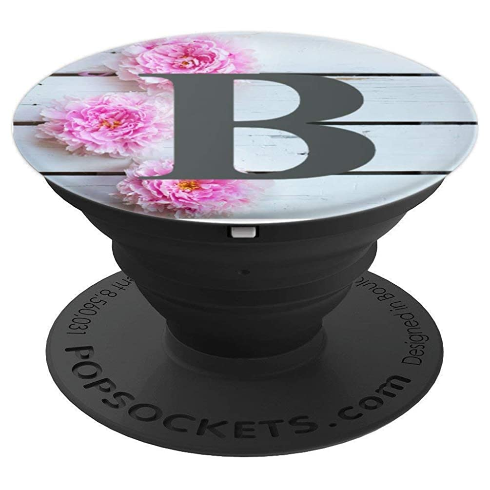 Cute Wood Pink Monograph Letter B Peony Flowers - PopSockets Grip and Stand for Phones and Tablets