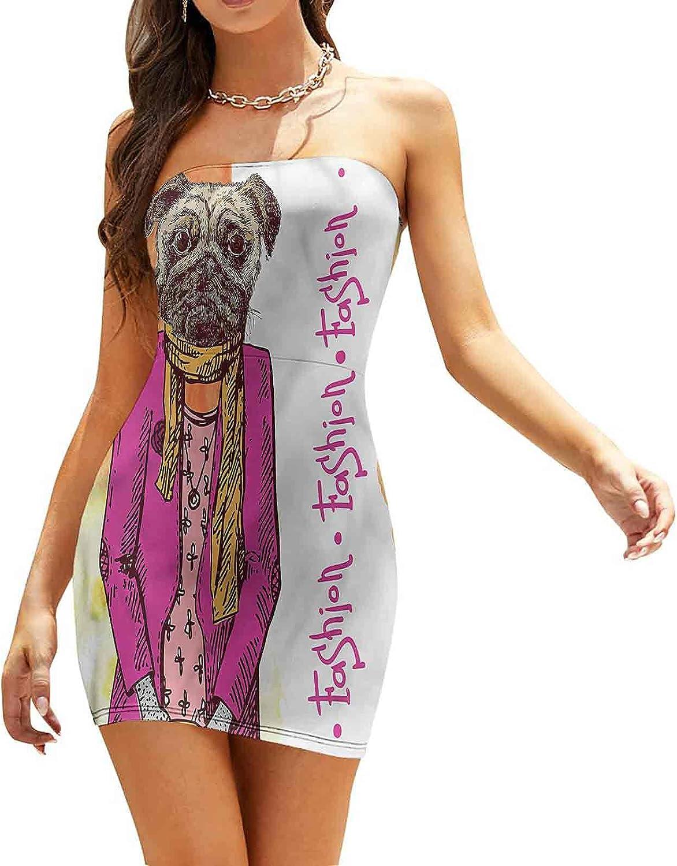 Women's Summer Strapless Dresses Dog Playing Guitar Singing Dresses