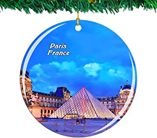 Weekino France Louvre Museum Paris Christmas Ornament City Travel Souvenir Collection Double Sided Porcelain 2.85 Inch Hanging Tree Decoration
