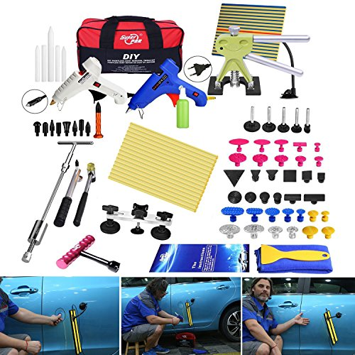 Fly5D 74 PCS Marteau Coulissant Kit, 2 en 1 Posse maillet, Debosselage Outillage Carrosserie Voiture Automobile Rayure Suppression Dent Reparation Auto