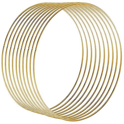 Celyoce 10 Stück 25cm Metallring Gold, Metall Ringe Hoops für Traumfänger Ring, Makramee Ring, Floristik