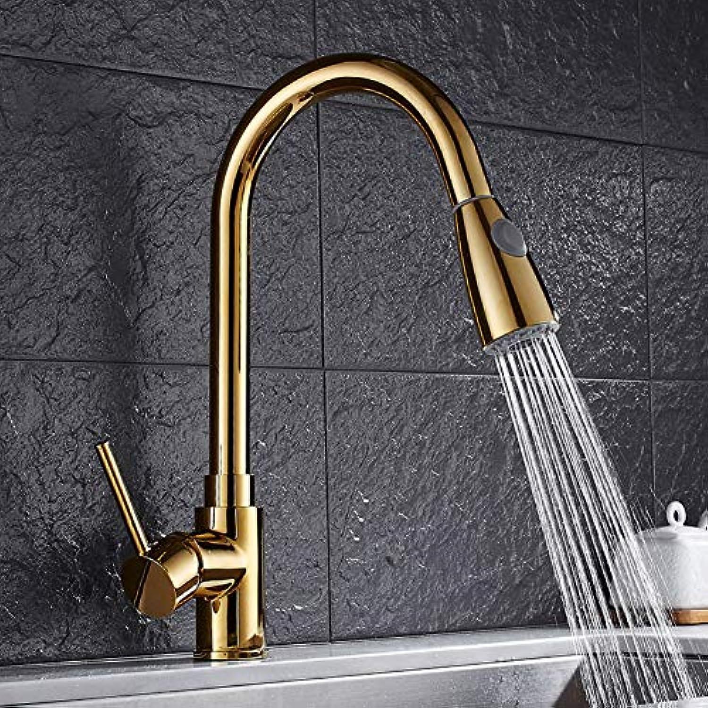 YHSGY Küchenarmatur Kupfer Heie Und Kalte Drehende Goldene Wasserhahn Der Küchenzug-Art Waschbeckenhahnwanne