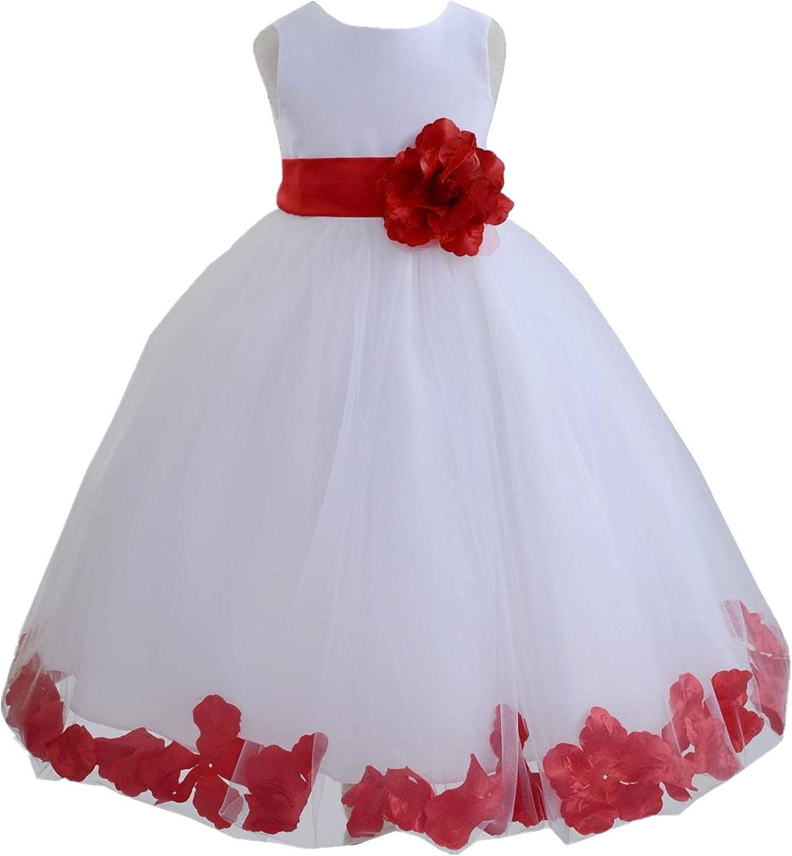 ekidsbridal Attention brand White Floral Rose Petals Oklahoma City Mall Birthday Dress Flower Girl