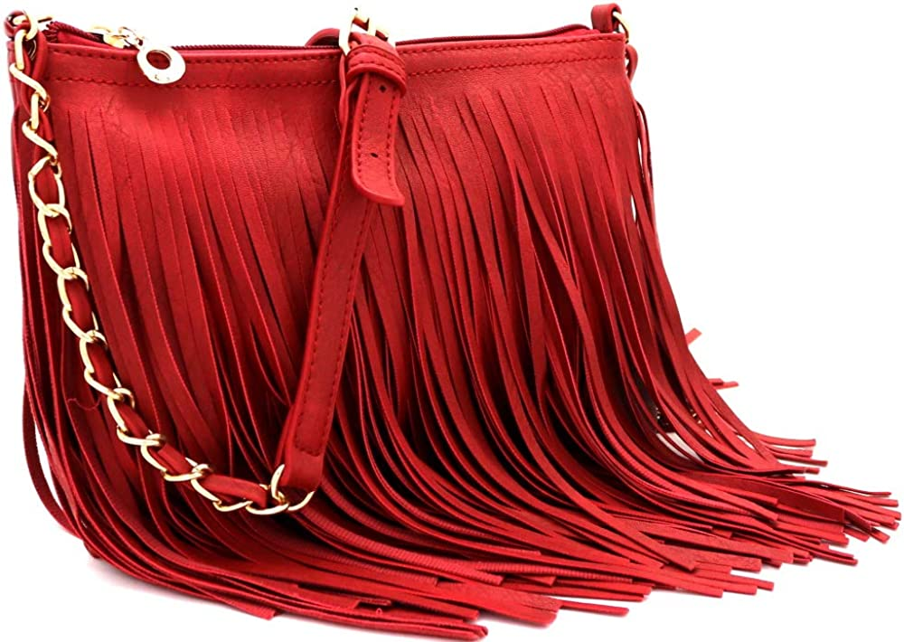 Front and Back Both Side Fringed Cro Discount is also underway Leather Medium Long PU Las Vegas Mall Soft