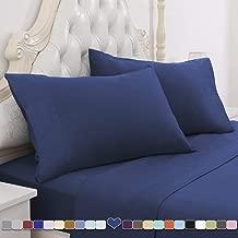 HOMEIDEAS 4 Piece Bed Sheet Set (Full, Navy Blue) 100% Brushed Microfiber 1800 Bedding Sheets - Deep Pockets, Hypoallergenic, Wrinkle & Fade Resistant