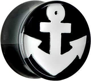 Body Candy Black Acrylic Drop The White Anchor Saddle Ear Gauge Plug 9/16""