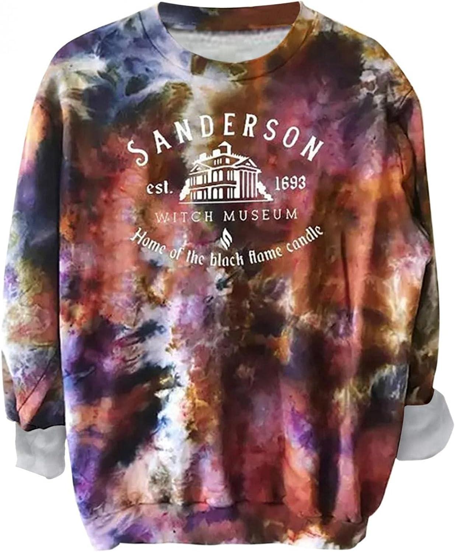 FABIURT Long Sleeve Shirts for Women,Womens Girls Fashion Sweatshirt Colorblock Tie Dye Casual Loose Crewneck Pullover Tops