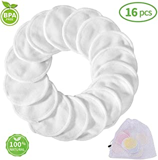 Bamboo Makeup Remover Pads, 2019 Reusable Organic Bamboo Cotton Rounds with Laundry Bag, Washable Facial Cleansing Cloths for Eye Makeup Remove Face Wipe (16 Pack)