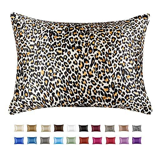 Luxury Satin Pillowcase with Zipper, King (1-Pack) Size, Jaguar Print (Silky Satin Pillow Case for Hair)