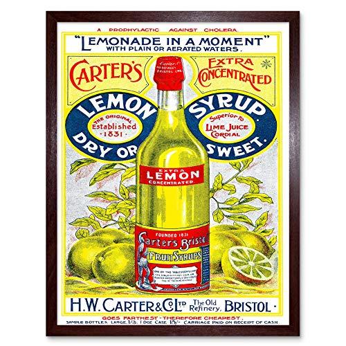 Wee Blauwe Coo Advert Drink Concentraat Citroen Siroop Carters Fles Bristol UK Art Print Ingelijste Poster Muurdecoratie 12X16 Inch