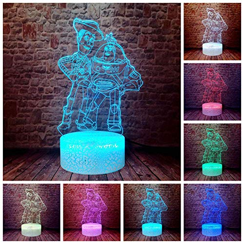 3D Illusion Lamp Led Night Light Toy Story 4 Woody Buzz Year Jessie Action S Anime Decoration 7 Colors Change Figurine Kid Christmas Gift