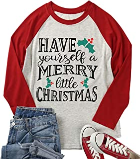 Plus Size Have Yourself a Merry Little Christmas T-Shirt for Women 3/4 Sleeve Raglan Graphic Xmas Top Tees Shirt