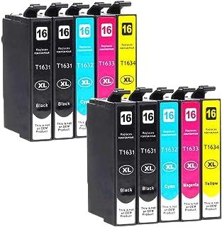Bramacartuchos - 10 X Cartuchos compatibles NON OEM para Epson T1631, T1632, T1633,T1634, 16XL,Epson Workforce 2630WF, 265...