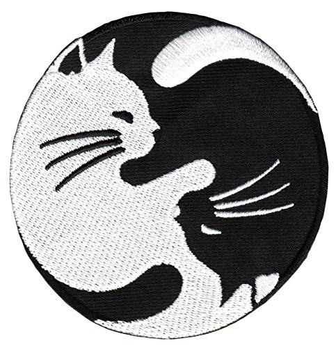 Yin Yang Katze Schwarz Weiß Yoga Aufnäher Bügelbild Applikation 8 x 8 cm