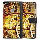 DeinDesign Custodia a Portafoglio Compatibile con Huawei P10 Lite Custodia per Cellulare di Similpelle Nera Cover a Libro Segno Zodiacale Vintage Orologio