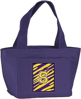 Caroline's Treasures Letter S Monogram - Tiger Stripe - Gold Lunch or Doggie Bag, Large, Purple