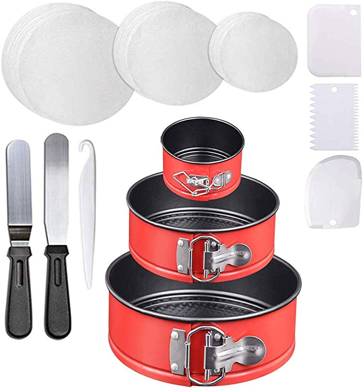 Red 4 7 9 Non Stick Springform Cheesecake Pan With 150 Piece Parchment Paper Liners