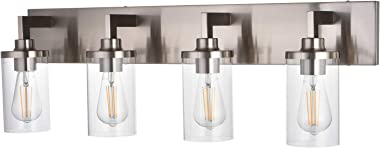 4 Light VINLUZ Farmhouse Bathroom Wall Light in Brushed Nickel Finish Classic Traditional Vanity Fixture Over Mirror Lamp wit