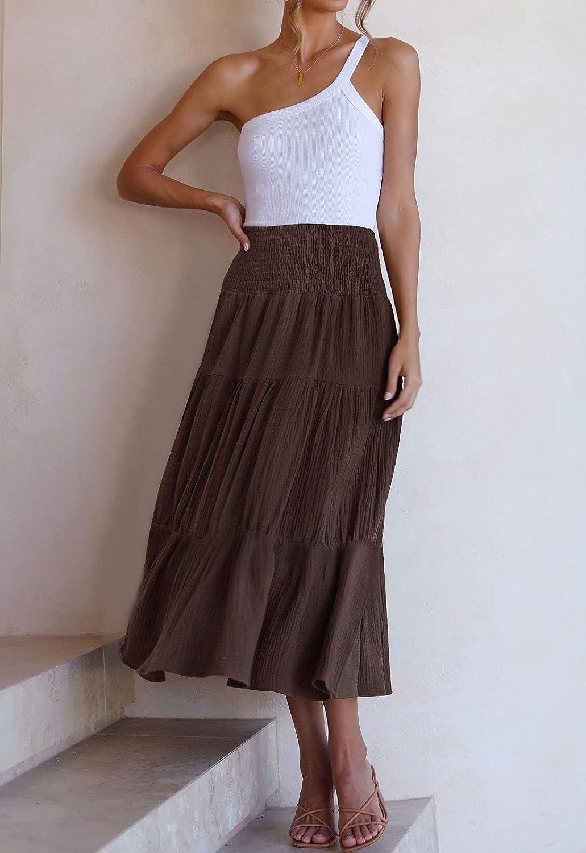 ZESICA Women's Casual High Elastic Waist Solid Color Ruffle A Line Swing Midi Skirt