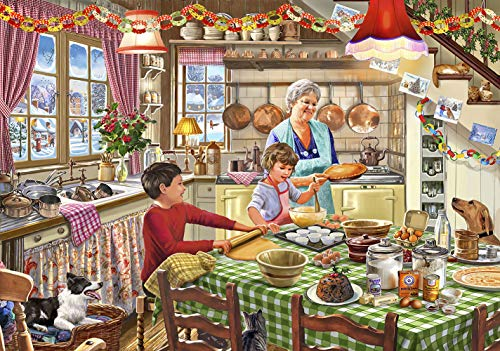 Wooden Jigsaw Puzzles 1000 Pieces for Adults for Kids -Christmas Dinner, Made of Basswood,Wooden Jigsaw Puzzles Hard to Break ,Includes Image Poster