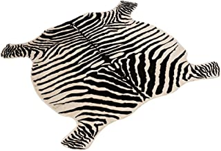 Area Rug Faux Zebra Print Rug 4x4.6 Feet Rug/Mat/Carpets for Home Yellowish Cream Color