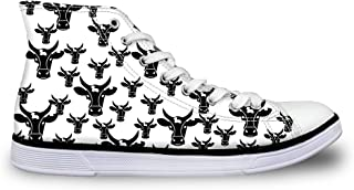 Flowerwalk dames schoenen high top veters canvas sneaker licht ademend turnschoenen koe schedel loopschoenen sportschoenen...