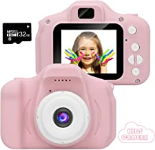 VJJB Kids Camera,Mini Rechargeable Childrens Digital Camera Shockproof Video Camcorder Gifts for 3-8 Year Old Boys Girls,8MP HD Video 2 Inch Screen 32GB Memory Card for Outdoor Play