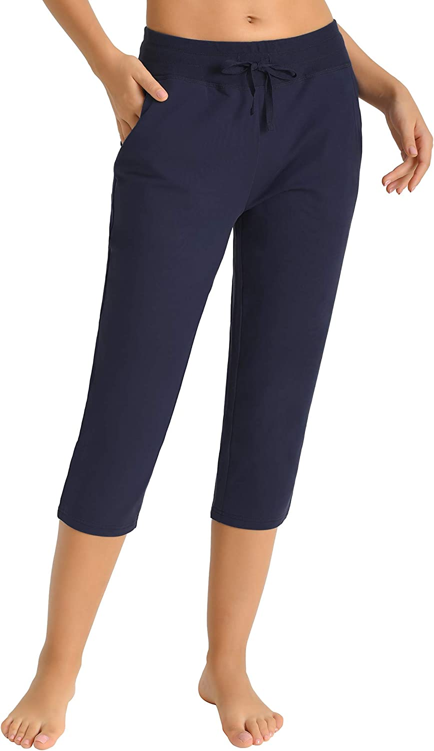 Latuza Women's Cotton Joggers Knit Pockets Safety and Long-awaited trust with Capri Pants