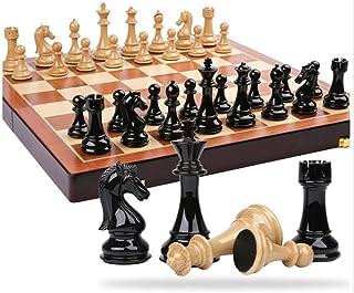 Luckyw Trä schackset med schackdelar bräda med förvaring leksaker för Thanksgiving schackset