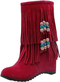Melady Women Classic Fringe Booties Wedge Heels