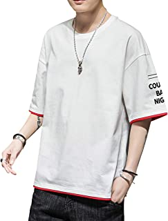 tシャツ メンズ 半袖 【2020新品】無地 綿100% 五分袖 ロンT 柔らかい 快適 吸汗 カジュアル 春 夏 おおきいサイズ ゆったり インナーシャツ
