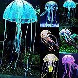 Qiniclife Aquarium Decorations, Fish Tank Decorations 6 Pcs Glowing Jellyfish,Ornament Decoration Jellyfish for Aquarium Fish Tank