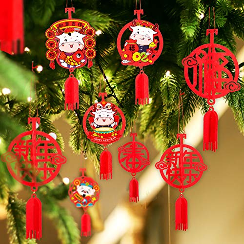 Whaline Chinese New Year Decoration Set 2021 Spring Festival Hanging Ornaments Chinese Knot Pendant Year of The Ox Hanging Ornaments Red Fu Chun Character God of Wealth for Home Office Car Tree 13pcs
