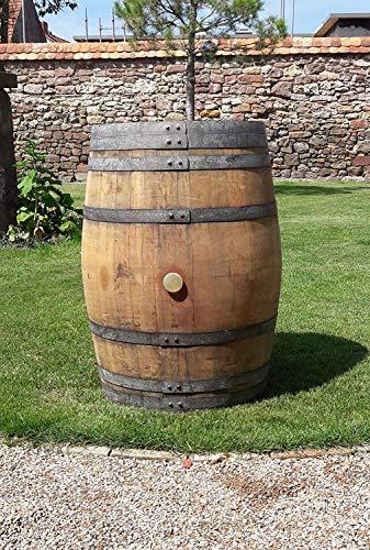 Barril grande de madera de roble maciza de 225 litros, barril de vino, barril de madera, mesa alta, mesa de jardín, muy decorativo (barril de barril)