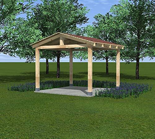 VSB Holz Pavillon Garten Laube 3 x 3m BSH Altan Überdachung Carport MIA