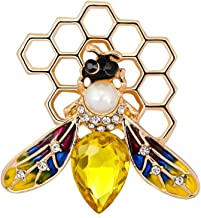 PONCTUEL ESCARGOT Fashion Yellow Enamel Bumble Bee with Honeyhive Brooches for Women Rhinestone Honeybee Bee Broach Pin Honeycomb Clothes Jewelry (2)