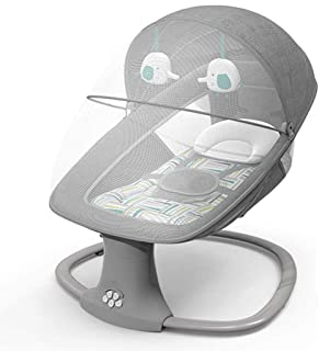 COSTWAY Electric Baby Bouncer Chair with Remote Control Wireless Bluetooth USB Music Automatic Rocking Bed for Newborn Infant 5 Swing Amplitudes /& 3-Stage Timing Function Removable Mosquito Net