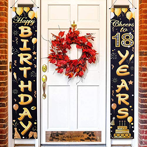 BUBABOX 18th Birthday Banner 18th Birthday Party Decorations Cheers to 18 Years Banner Welcome Porch Sign for 18 Years Birthday for Home Door Banner (Black Gold)