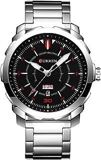 CURREN Men's Watch Stainless Steel Watchband Wristwatches Waterproof Quartz Watches with Calendar for Men 8266 (Silver-Black)
