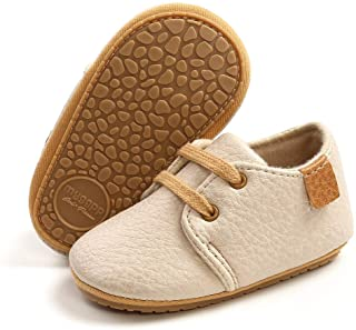 RVROVIC Baby Boys Girls Sneakers Anti-Slip Oxford Loafer Flats Infant Toddler PU Leather Soft Sole Baby Shoes