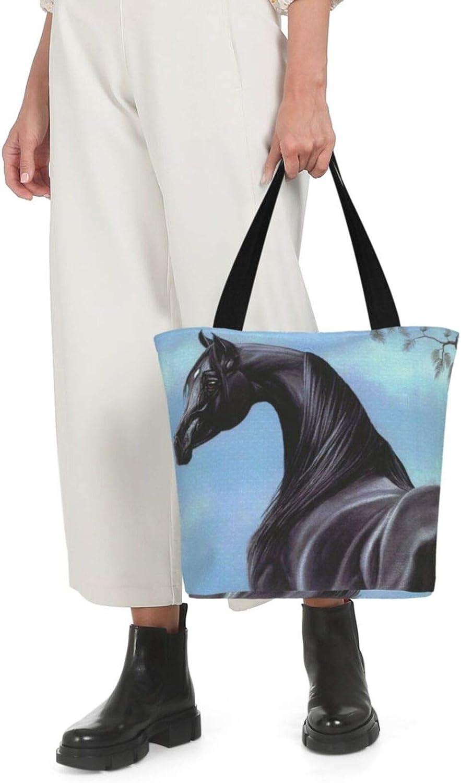 Lonely Handsome Dark Horse Art Themed Printed Women Canvas Handbag Zipper Shoulder Bag Work Booksbag Tote Purse Leisure Hobo Bag For Shopping