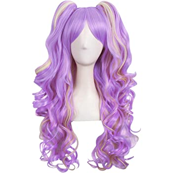 MapofBeauty Multi-color Lolita Long Curly Clip on Ponytails Cosplay Wig (Light Purple/Blonde)